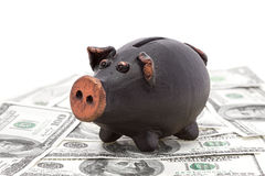 Money and black piggy bank Royalty Free Stock Images