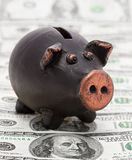 Money and black piggy bank Royalty Free Stock Image