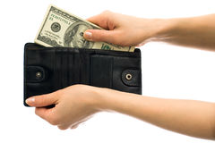 Money in black wallet Royalty Free Stock Photo