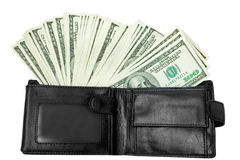 Money with black wallet Royalty Free Stock Photography