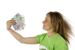 Money blowing hair back Royalty Free Stock Images