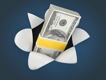 Money on blue background. 3d Royalty Free Stock Photo