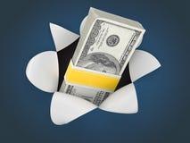 Money on blue background. 3d vector illustration