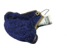 Money in Blue Beaded Purse Royalty Free Stock Photography