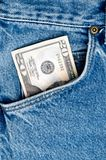 Money in blue jeans pocket Stock Images