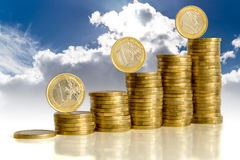 Money on blue sky with clouds background. Money (euro) on blue sky with clouds background stock photos