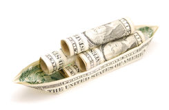 Money boat. A successfully financial boat in concept Stock Photo