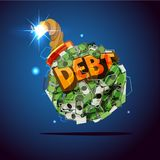 Money bomb with `debt` text. debt crisis concept -. Illustration Royalty Free Stock Photography