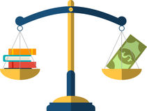 Money and book balance on the scale. education Concept. Design Royalty Free Stock Photo
