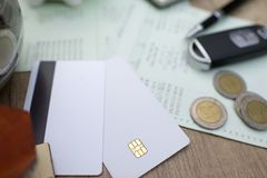 Money, book bank, and other card. Bussiness concept stock images