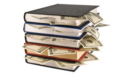 Money in the book. Business training. Royalty Free Stock Photography