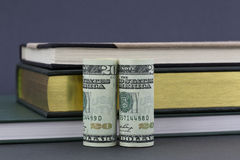 Money and books on gray background Royalty Free Stock Photo