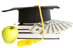 Money and books for school Stock Images