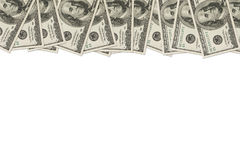 Money Border of hundred dollar bills. A border of American money on white with copy space, Money Border of hundred dollar bills Stock Photography