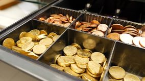Money, both coins and banknotes, in cash register. In a shop. European currency Euro pieces stock footage