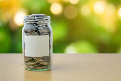 Money bottle with coins on bokeh background Stock Image