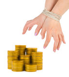 Money and bound hands Royalty Free Stock Image