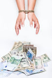Money and bound hands. Dollar & Euro  banknote and bound hands  on white background Stock Photography
