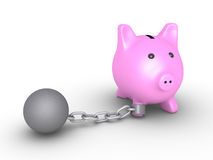 Money are bound from moving. 3d pig money box is detained by a chain ball Royalty Free Stock Image