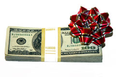Money with a bow as a gift stock images