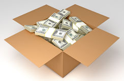 Money Box. Money in the Box. HQ 3d Render. Include Clipping Path Stock Photography