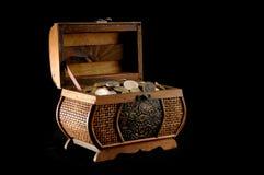 Money box. On black background royalty free stock photography