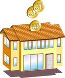 Money box. A vector illustration for a house shape money box Royalty Free Stock Photography
