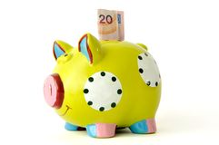 Money box. Piggy bank on the white background. Clipping path Royalty Free Stock Photography