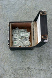 Money in a box. A street musicians income from preforming for tips in a box on the sidewalk royalty free stock photography