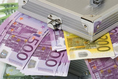 Money and box. Paper money euro banknotes and metal box Royalty Free Stock Photography