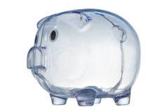 Money-box. Money box in form transparent plastic pig Royalty Free Stock Photo