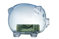 Money-box. Money box in form transparent plastic pig Stock Photography