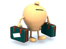 Money box with arms and legs that take a suitcase Stock Images