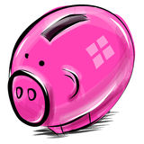 Money box cartoon pig sketch vector illustration Stock Photography