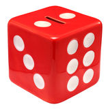 Money Box Dice. Red dice shaped money box isolated over white background royalty free stock image