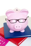 Money-box and documents. The pink pig bank and documents and calculator royalty free stock photography