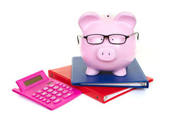 Money-box and documents. The pink pig bank and documents and calculator royalty free stock photos