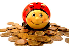 Money box and Euro coins Stock Photos