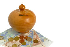 Money box with euros Stock Images