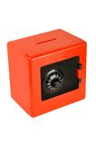 Money-box. In the form of a safe on a white background royalty free stock image