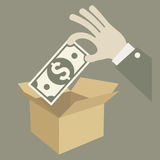 Money in box Royalty Free Stock Photo