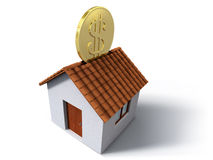 Money box house. Illustration of piggy bank house with dollar coin Royalty Free Stock Photo