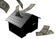 Money box house black Stock Photos