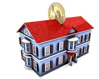 Money box house with dollar. 3d illustration of money box house with dollar coin Royalty Free Stock Photos