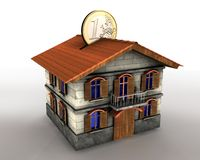 Money box house with euro. 3d illustration of money box house with euro coin Stock Photography