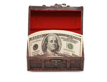 Money  in box isolated Royalty Free Stock Photos