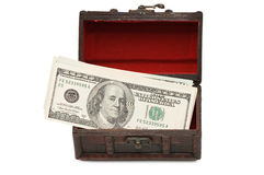 Money  in box isolated on white Stock Images