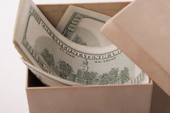Money in box Royalty Free Stock Photography