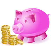 Money-box is a pig and gold coins Stock Photos