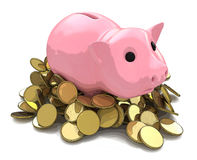 Money Box pig with gold coins Royalty Free Stock Images